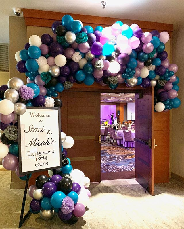 How cool?! An engagement party turned into a surprise wedding for their guests! . . . #surprisewedding #wedding #engagement #purple #balloongarland #weddingdecor #balloonsandflowers #bellevue