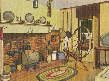 A postcard depicting Abigail's kitchen, where she reportedly melted down her pewter tableware to make bullets.  Source .