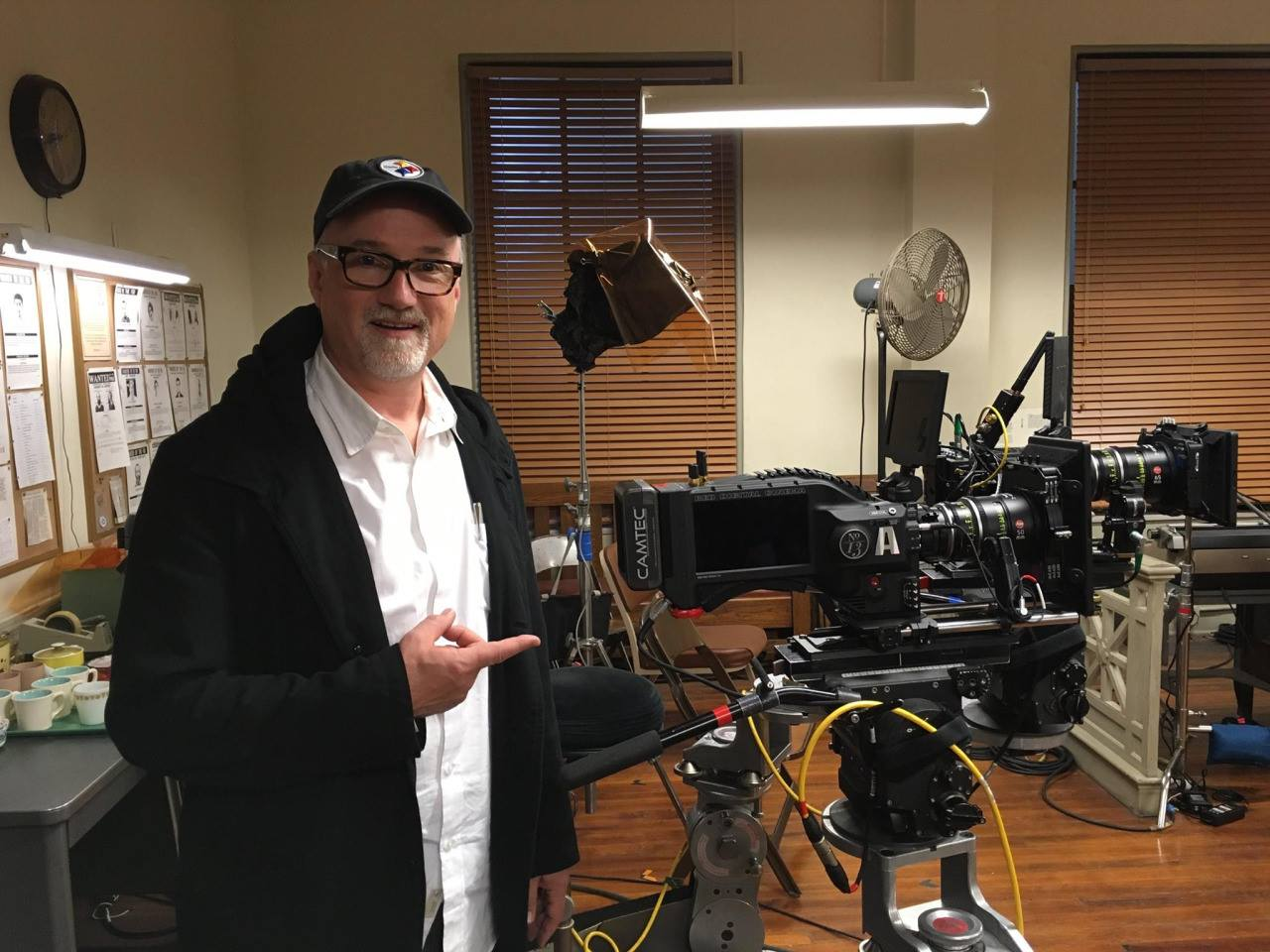 David Fincher pictured with a custom Xenomorph Red Camera outfitted with Camtec accessories on the set of  Mindhunter.