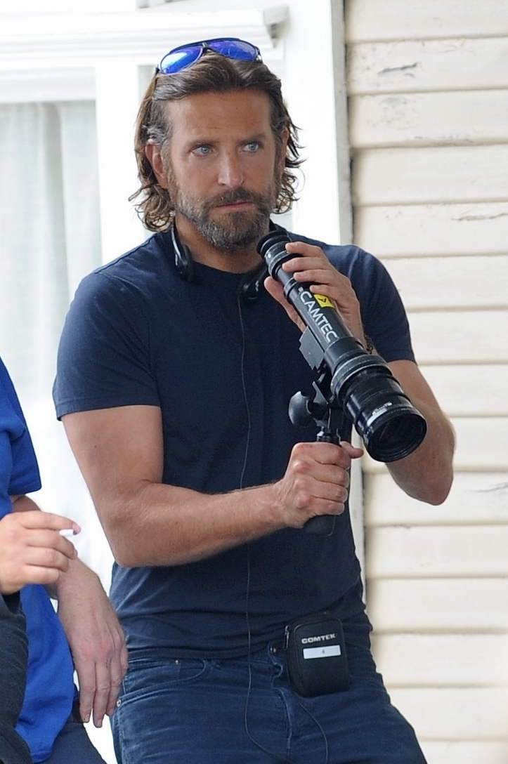 Director/actor Bradley Cooper on the set of  A Star Is Born  with a Camtec director's finder.