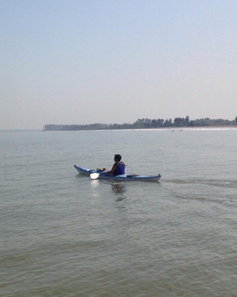 Kayaking near Mandwa, a sleepy fishing village south east of Bombay.