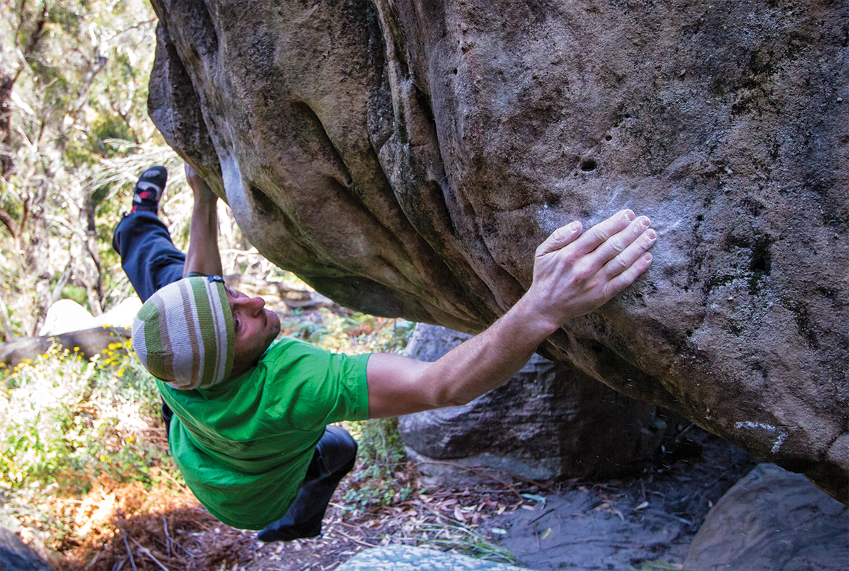 Arnie on one of his brilliant Bleachers blocs,Red Mist (V12).