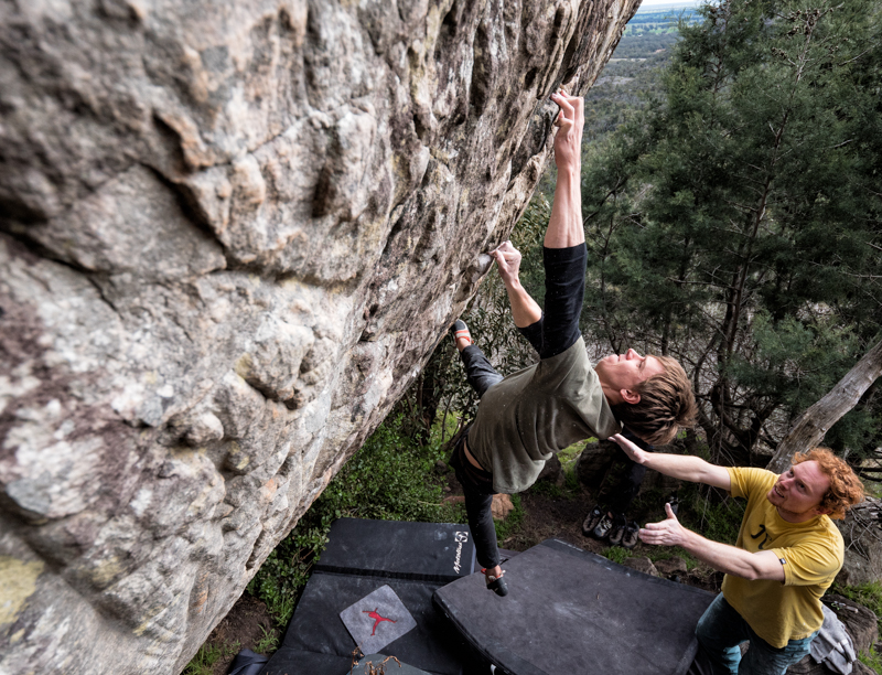 There is nothing like the close attention of a great spotter to give you the confidence to throw yourself at a problem. Under the watchful Reuben Bennet-Daly, Stefan Niedermeyer latches a crimper on Far Left el Westwood (V9).  Simon Madden