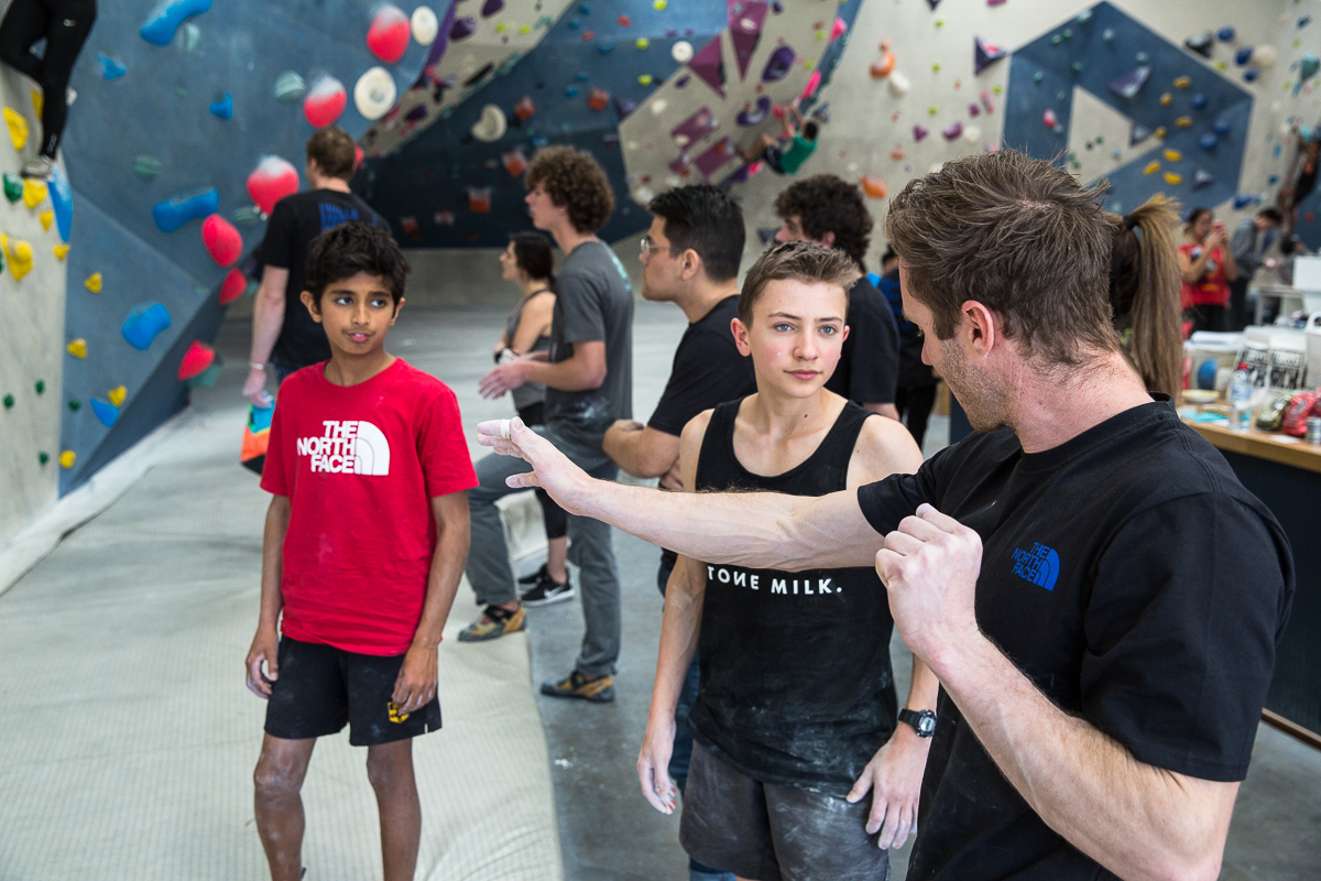 Lee giving the kids some real deal ninja-climbing Jedi Mind Tricks during The North Face Global Climbing Day at 9 Degrees Parramatta.  Kamil Sustiak