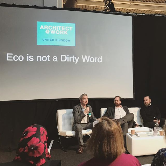 """Very interesting discussion and insight from Jerry Tate, Meredith Davey and Paulo Vimercati on working with clients to deliver """"eco"""" projects in the #ecoisnotadirtyword seminar yesterday. #Sustainable design shouldn't mean unnecessary cost for clients nor should it compromise other ambitions of a project. Simple sustainable design makes good business sense. • • • #walkerhayarchitects #WHA #sustainablearchitecture #sustainability #eco #sustainabledesign"""