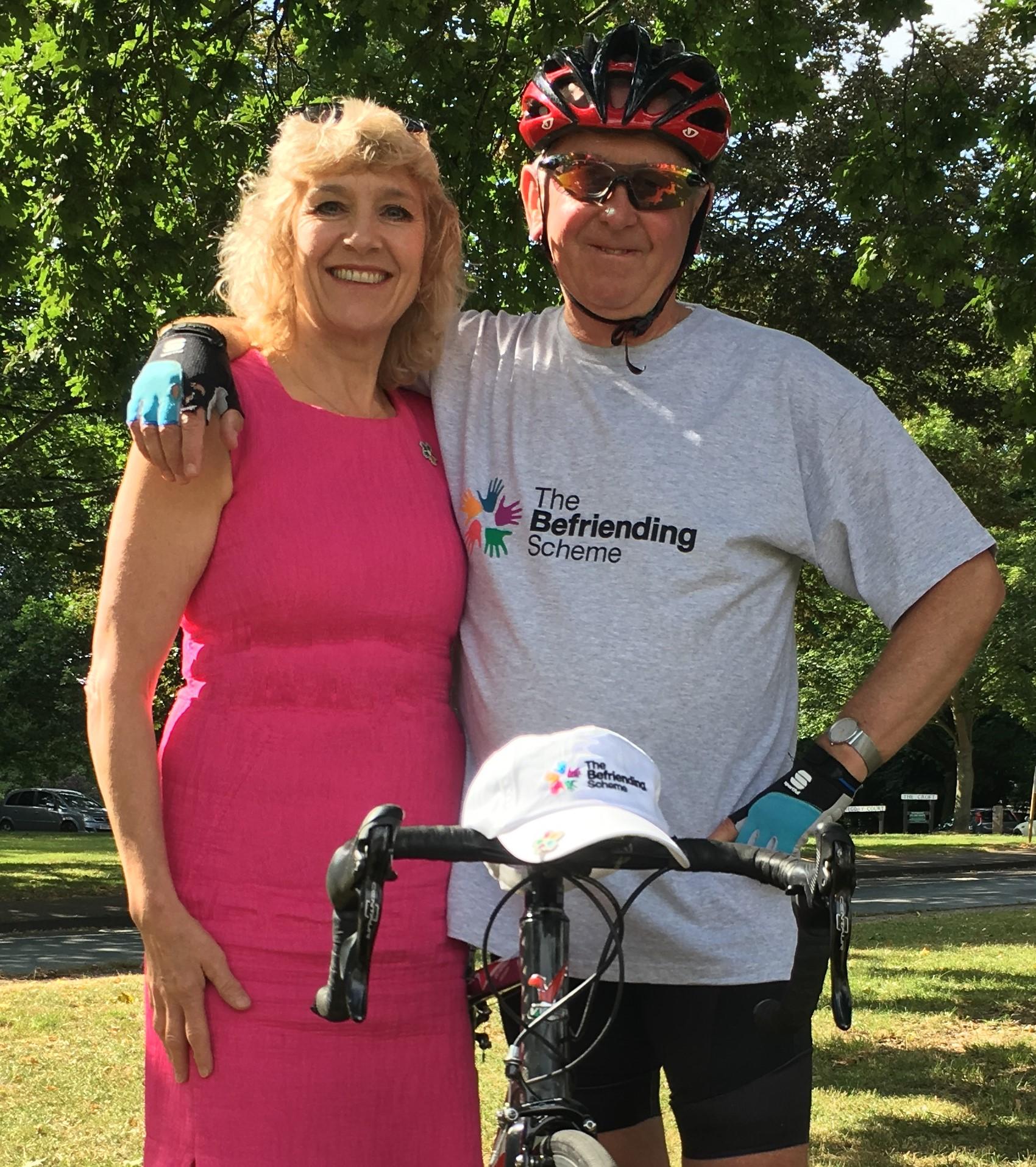 Mark Swift alongside The befriending scheme CEO, Shirley Moore.