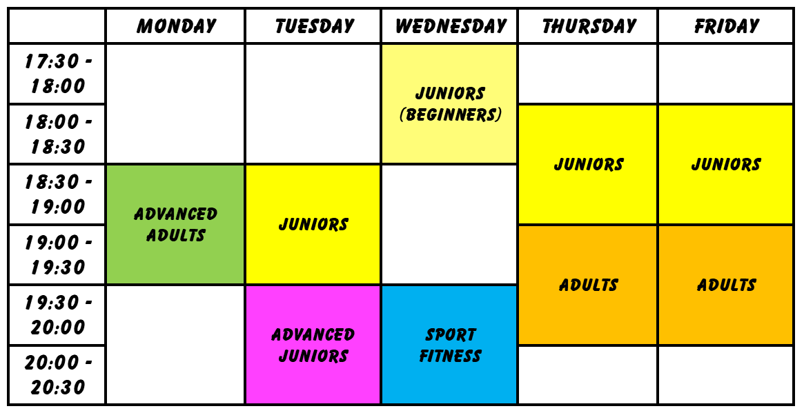 Class Time Table as of January 2018