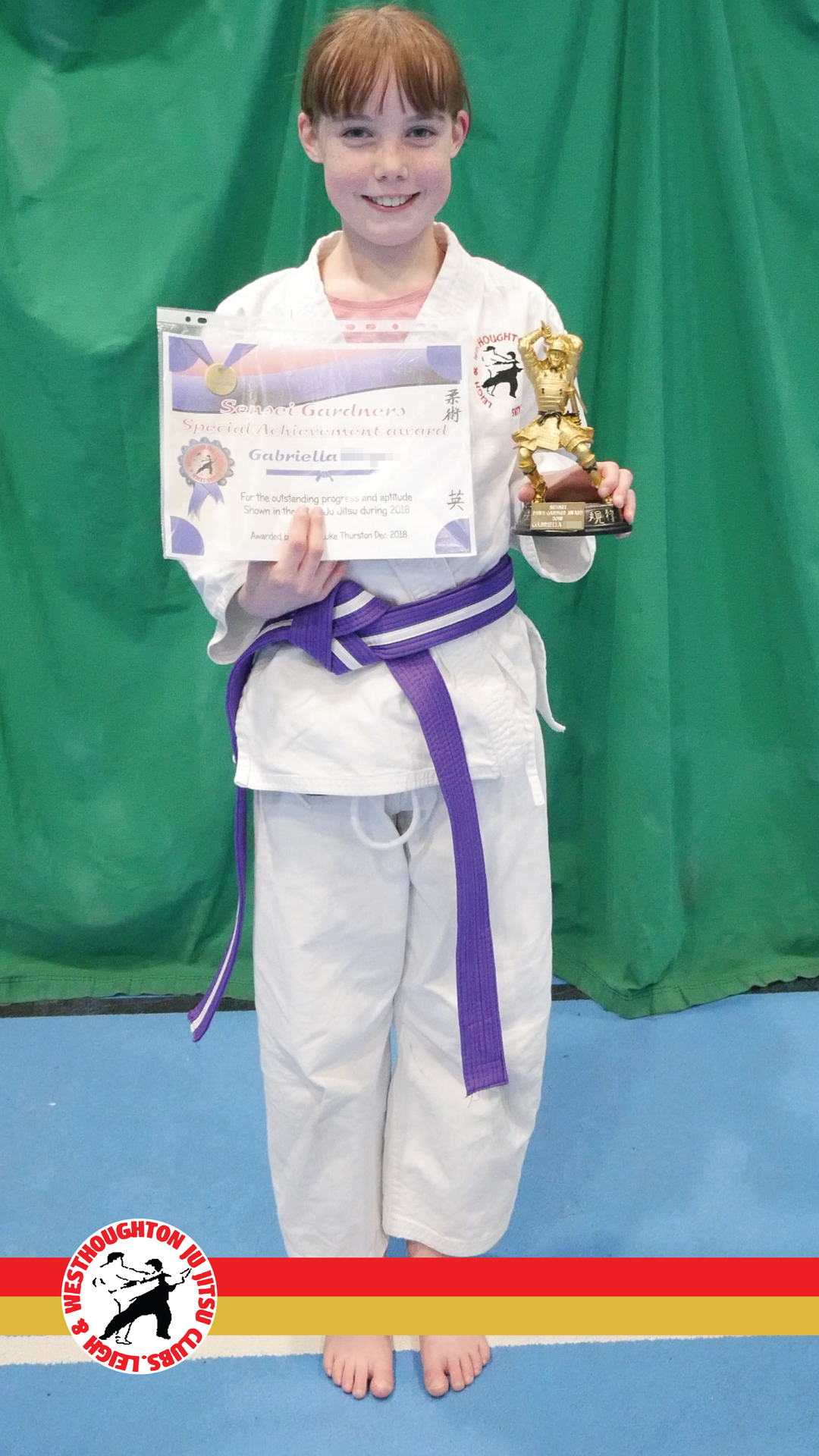 Sensei Gardner Award - Congratulations to Gabriella for achieving the Sensei Gardner award for her hard work and embodiment of Ju Jitsu and its values.