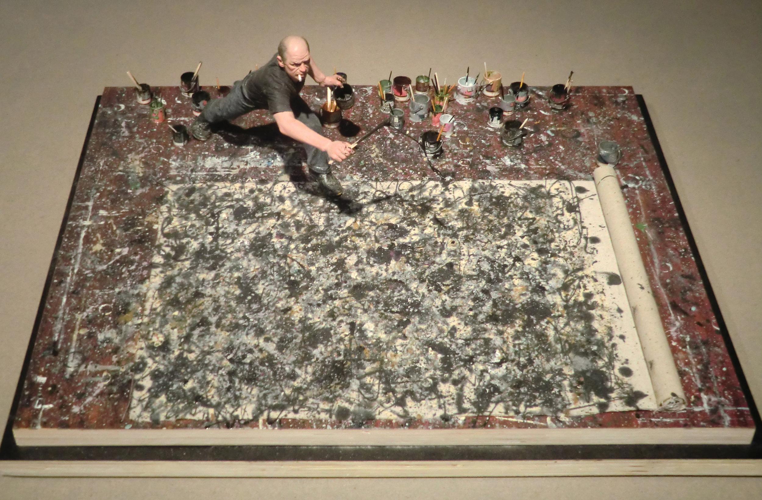 Jackson Pollock en su estudio, pintando  Alchemy , 1947