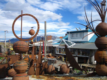 Some of the backyard beach sculptures at Ravens Recycled House