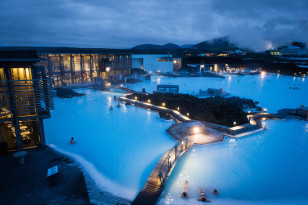 Stunning view of the blue lagoon at dusk