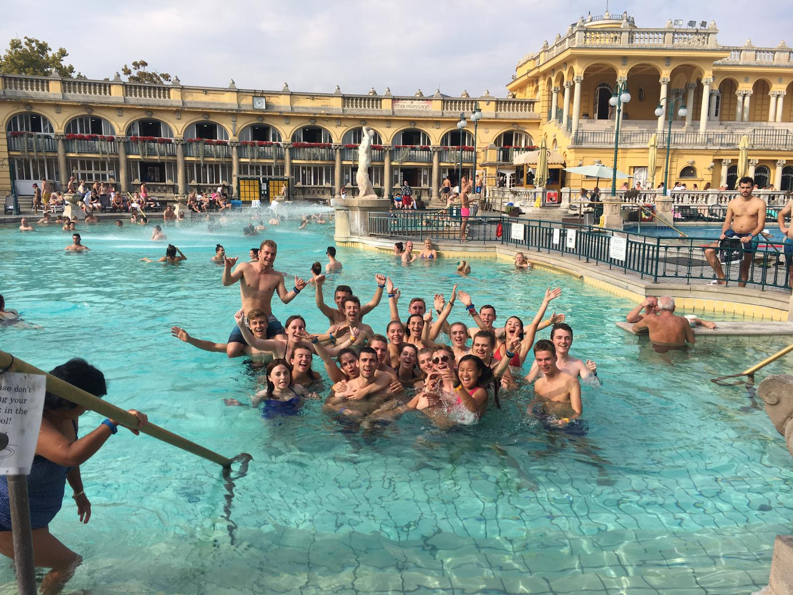 Post-marathon relaxing at the Szechenyi Baths.