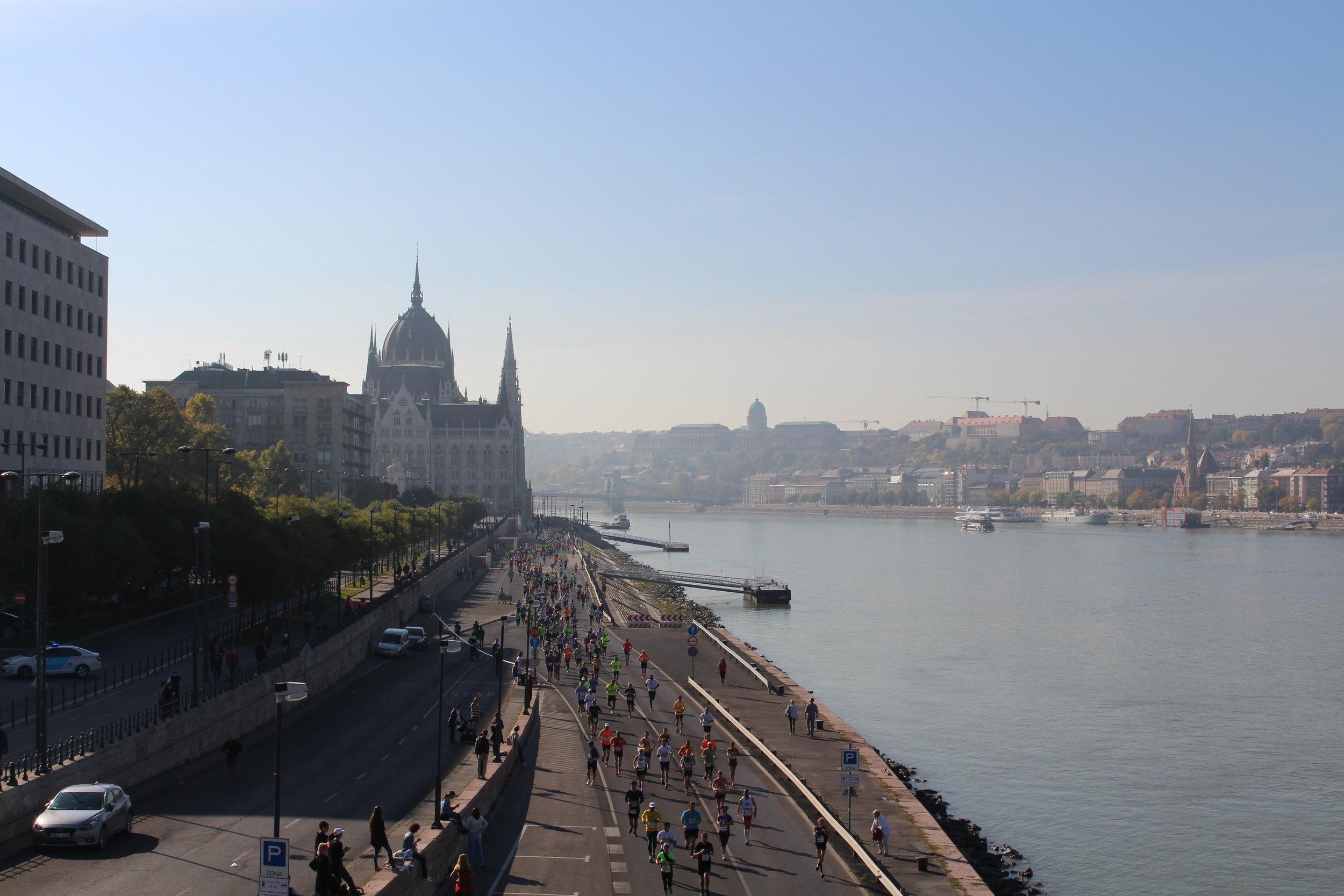 The scenic Budapest Marathon course.