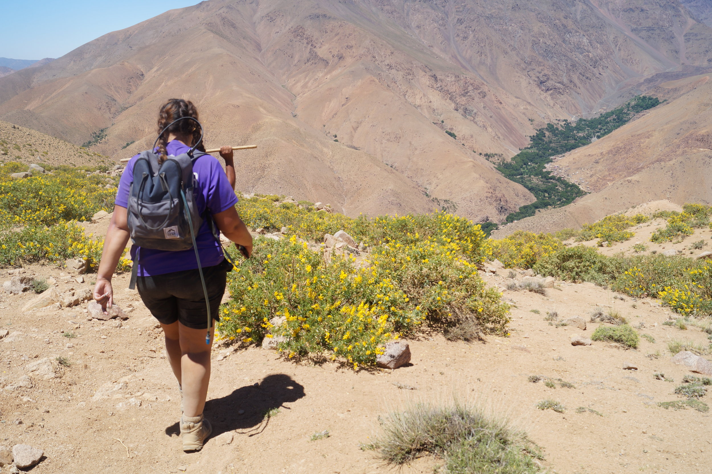 Trekker in Atlas Mountains