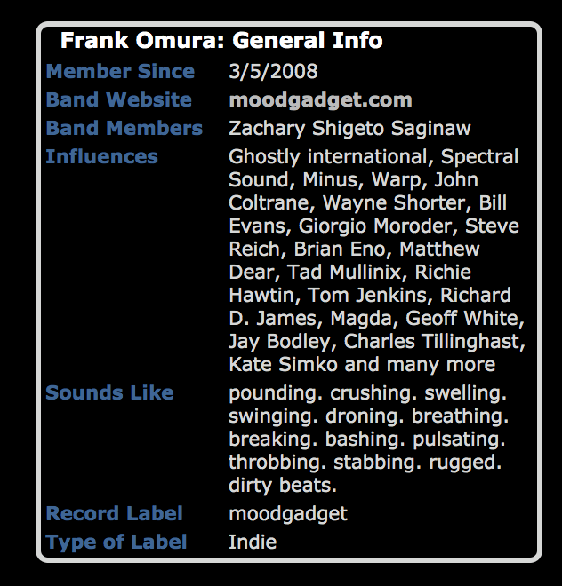 Screenshot of the Frank Omura MySpace, late 2008