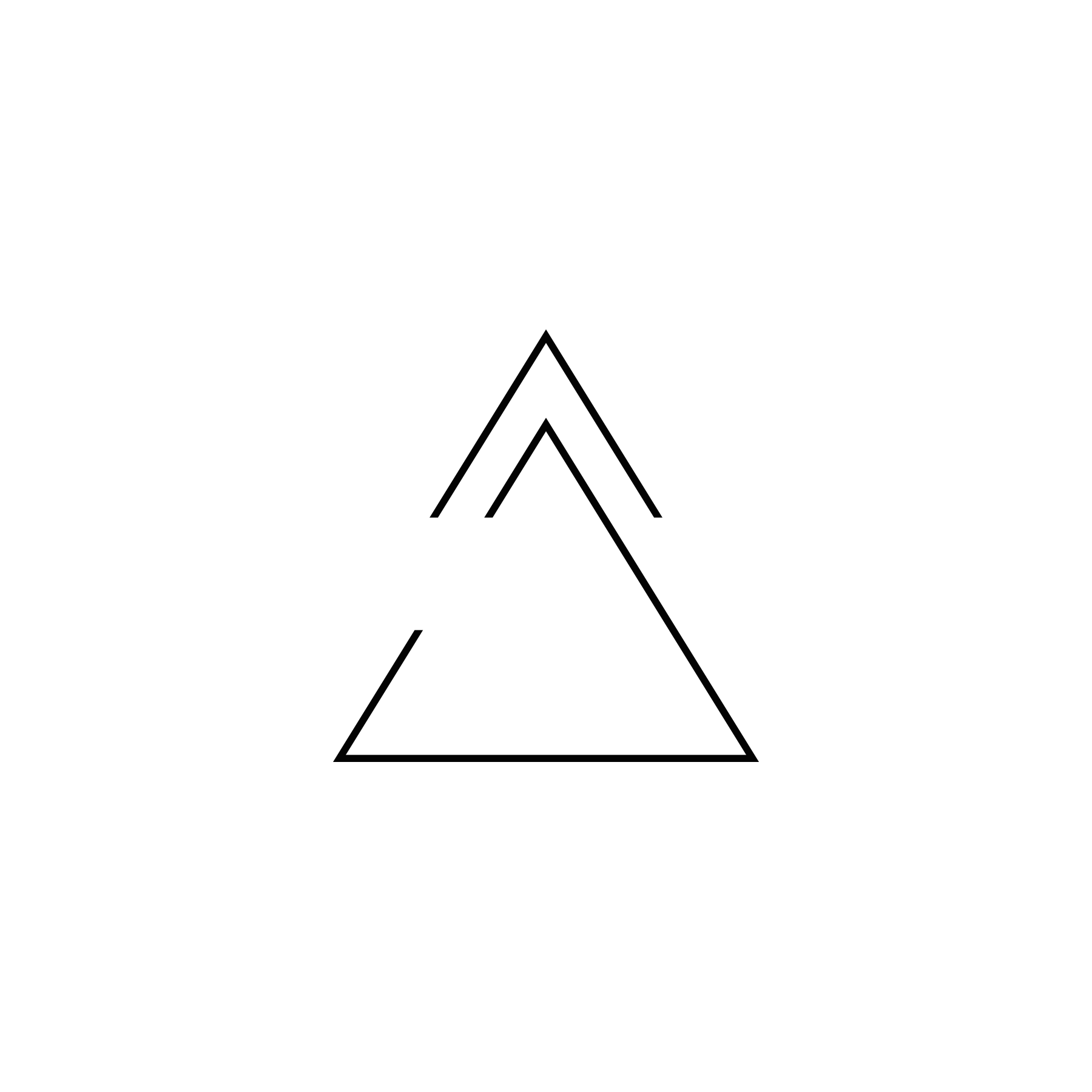 Upper Arrow (Hat) - Upper arrow (hat) means progress, moving forward; open delta means openness to change.
