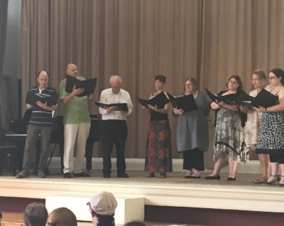 Streatham Choral's group on stage at the British Home