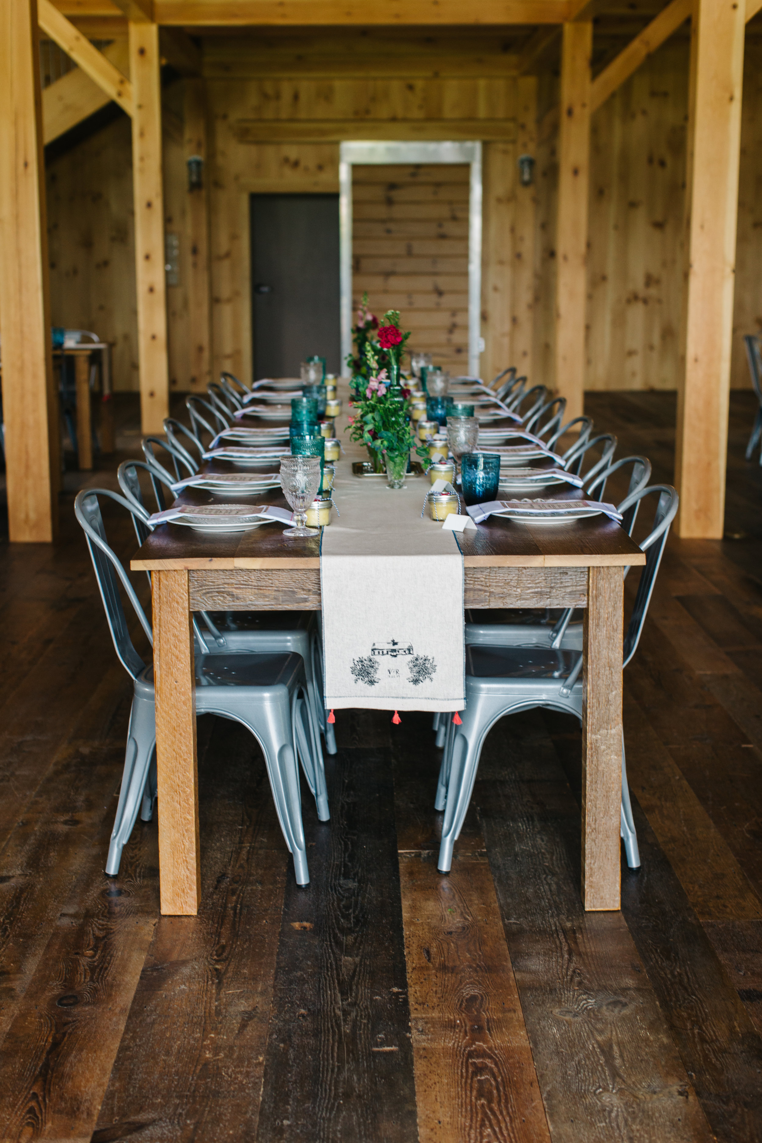 Custom, Handmade and Screenprinted Table Runners.   Styling By Victoria Lane Design  Photo By Greta Tucker