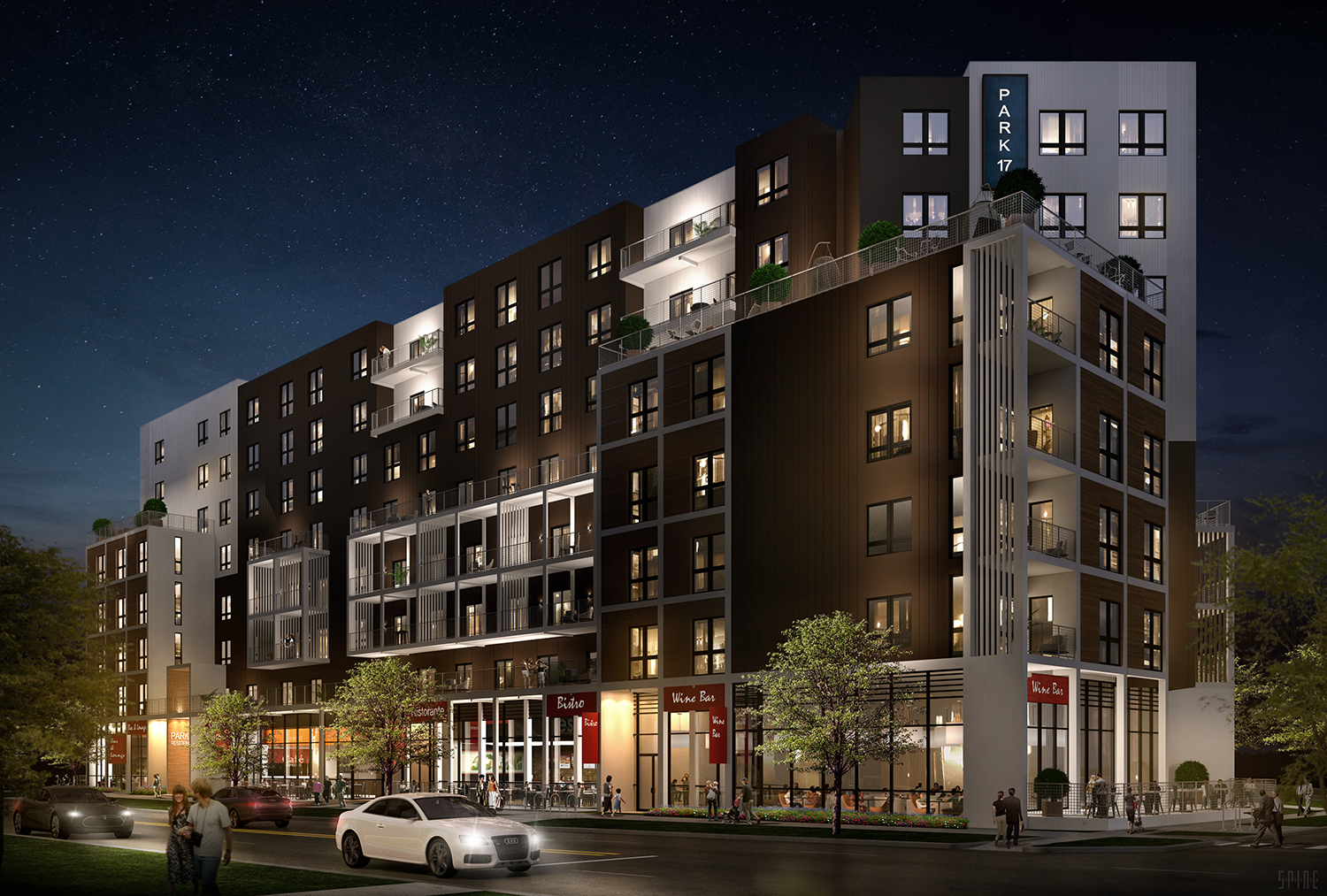Night rendering of Park & 17th, Denver, CO