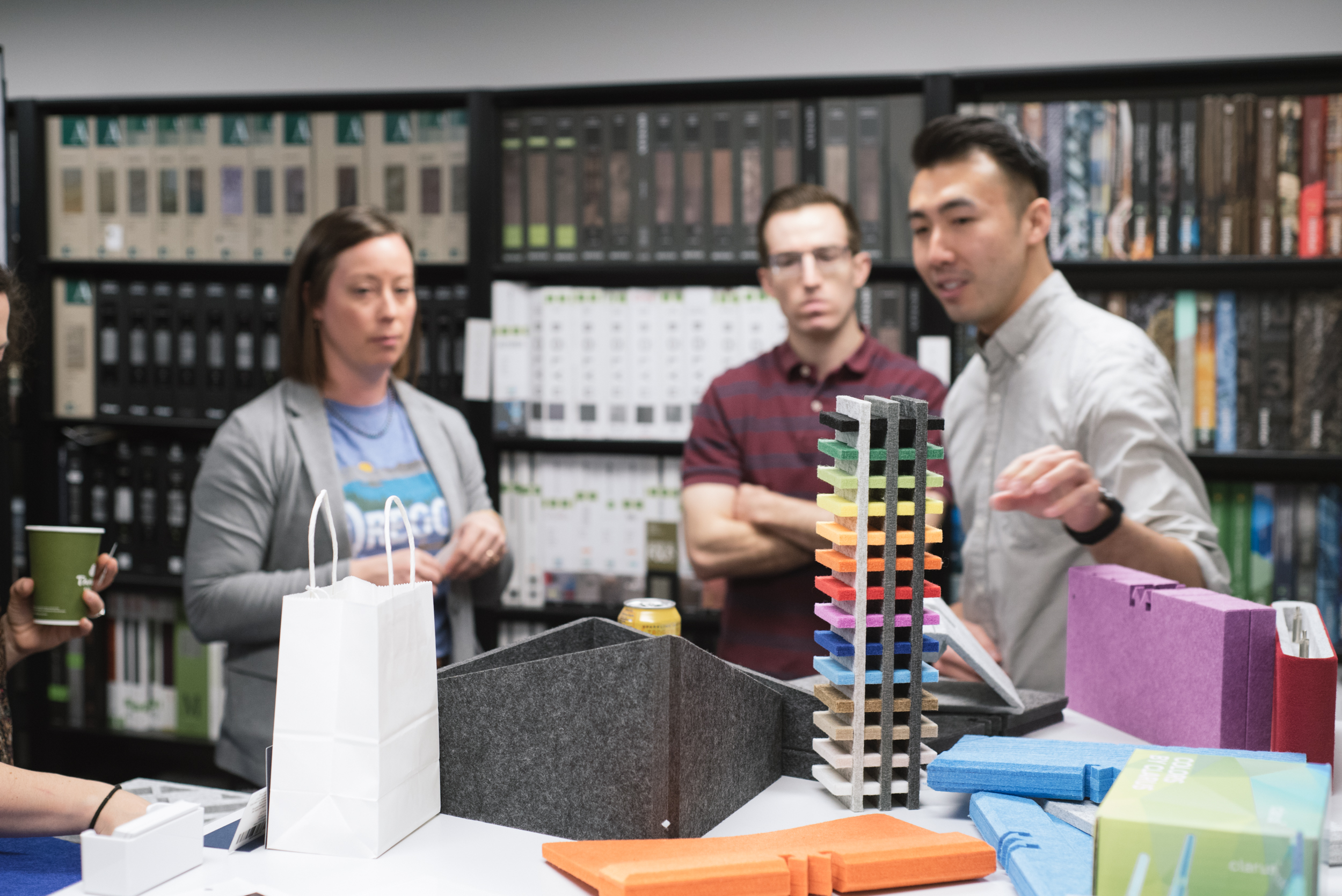Jake and Hao explore acoustic products by Connealy Design Element