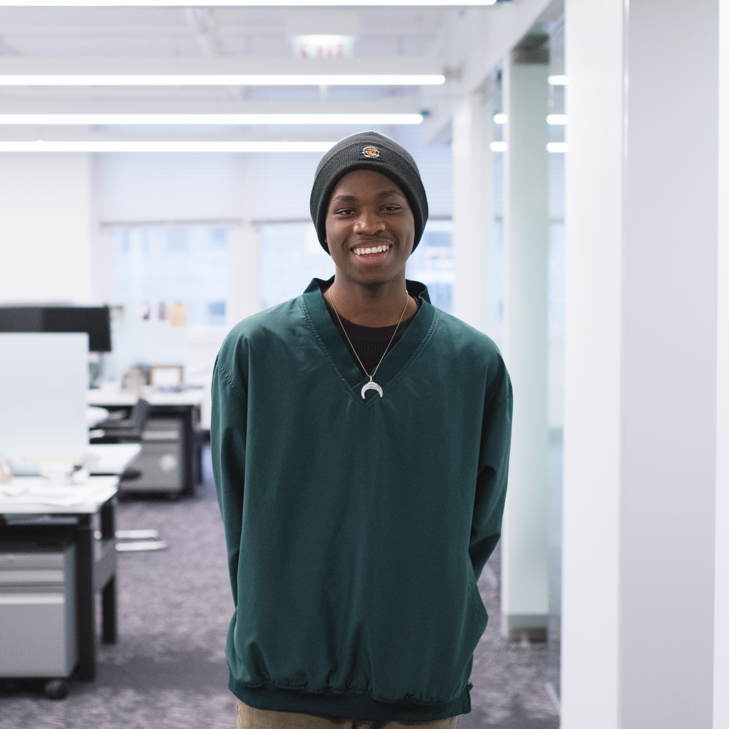 "Malique Bodie  Senior at Jones College Prep, interested in Architecture.   ""Learning different computer programs like CAD and Rhino and getting to have creative input on the building design."""