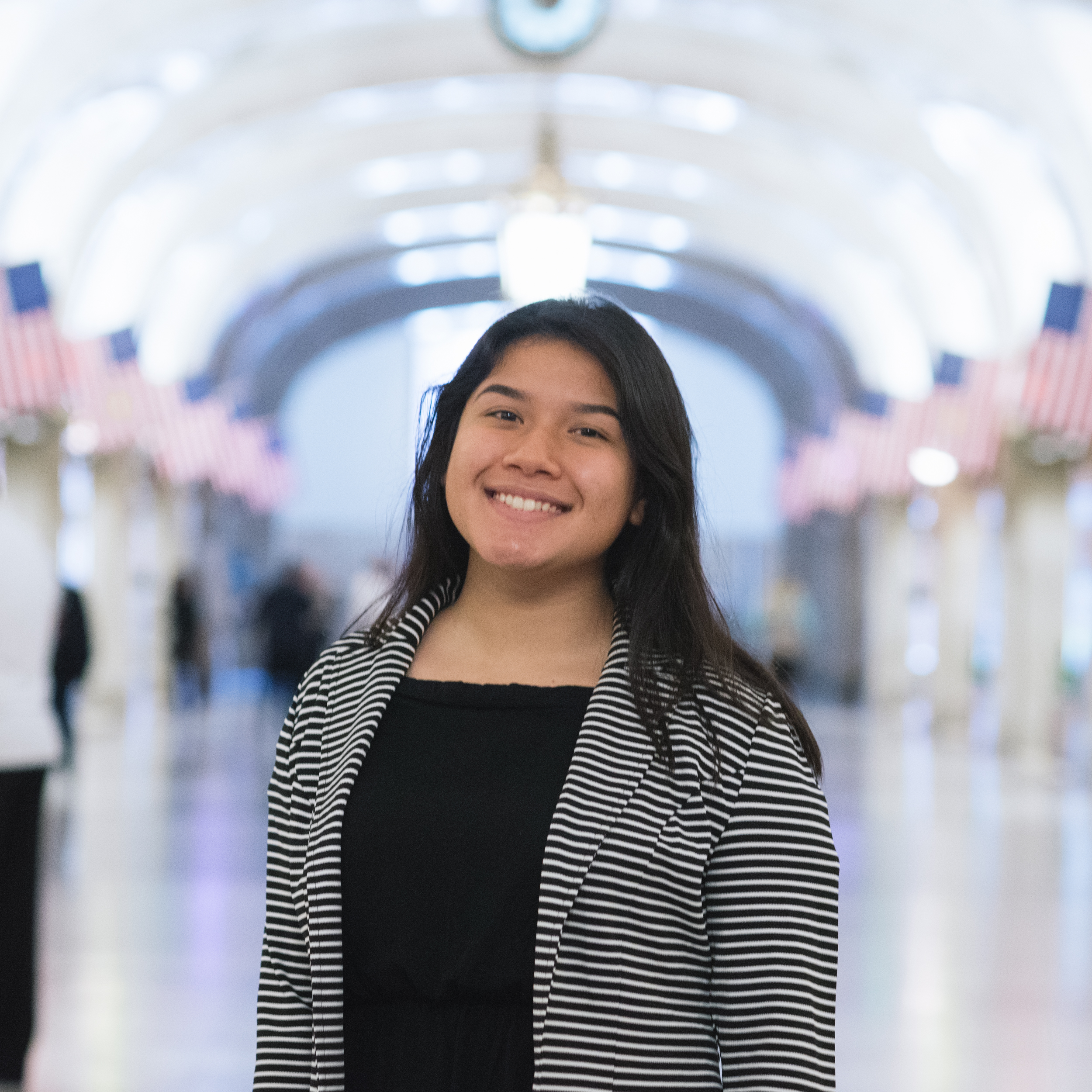 "Crystal Juarez  Senior at ACERO – Major Hector P. Garcia, interested in Architecture.   ""I liked the first day. It all seemed like a dream come true. Walking late at night entering an office building as if I worked there. Heading up on the elevator, I was very nervous. But once I got into the room, it washed away. Seeing the office space and the environment of an architect, as well as the beautiful city through the window, all that was in me now was opportunity."""