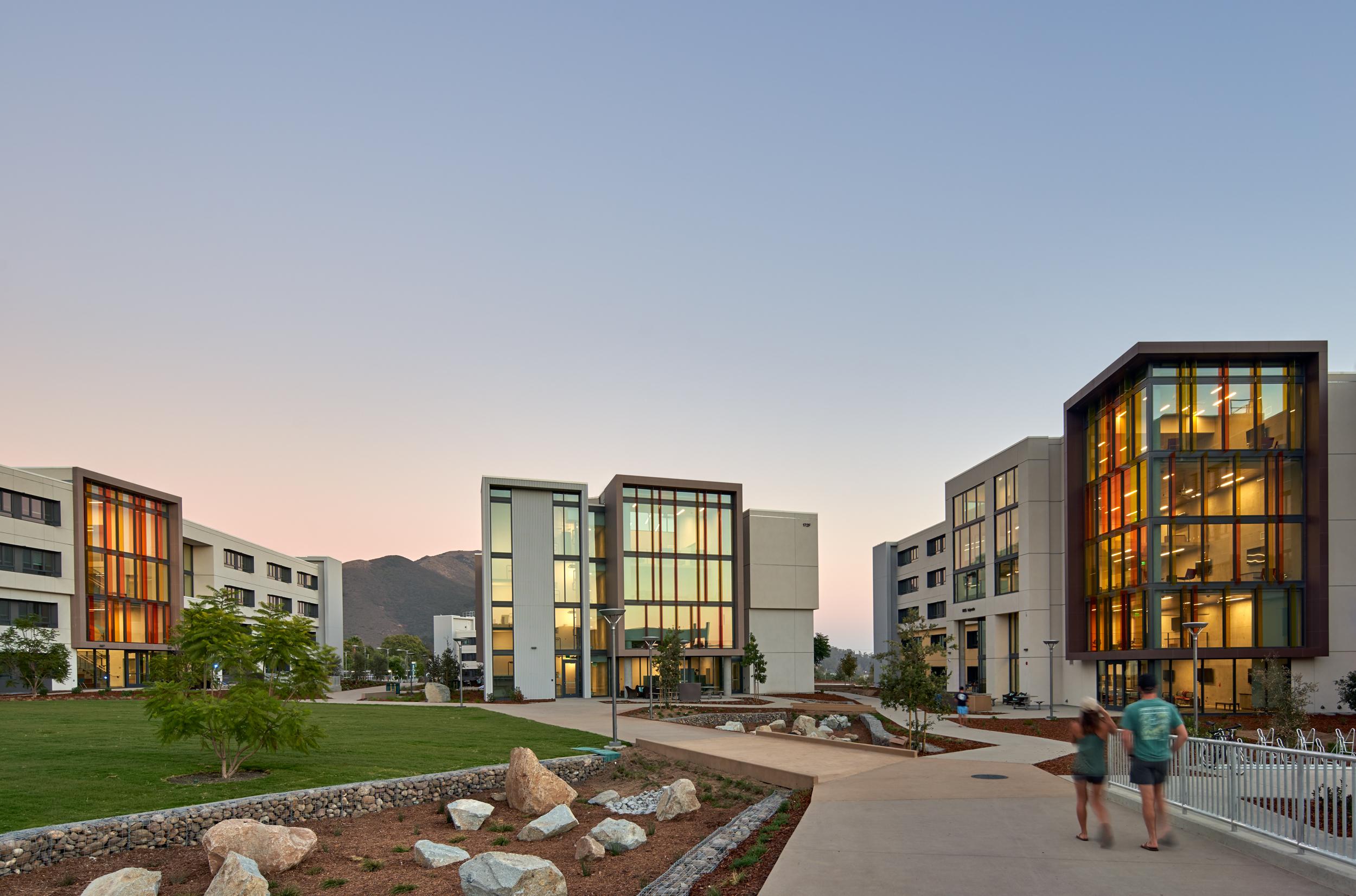 View of the Cal Poly yakʔityutyu Housing, San Luis Obispo, CA (Photo by Bruce Damonte)