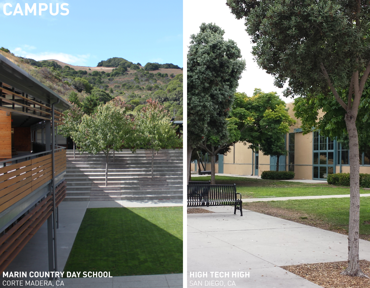 Future of Learning | Campus Context   Two successful educational environments that were toured for the Future of Learning project were Marin Country Day School and High Tech High. The two school environments were very unique, yet shared many commonalities, one being that they were both organized as a campus layout.     …to visit full article