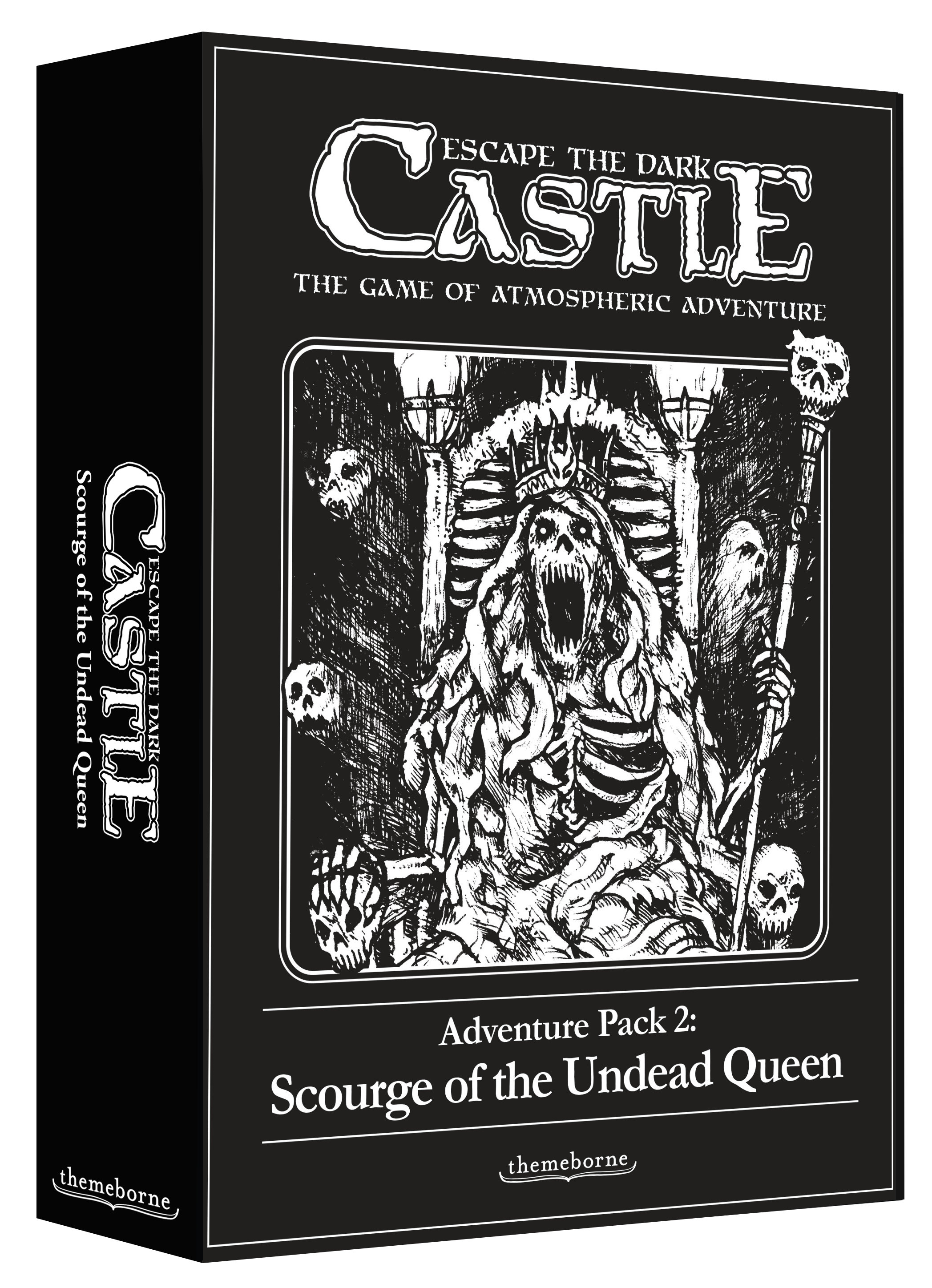 - Contains:1 New Boss The Undead Queen, a foul necromancer bent on enslaving your soul15 New ChaptersThe Undead Queen's terrifying forces, and new locations within the Dark Castle3 Companion CharactersVital allies to accompany the prisoners and assist in their escape3 Companion Trigger CardsEvent cards which signify the arrival of a Companion3 Companion Dice Used to carry out Companion actions and special abilities2 New ItemsEach a powerful relic for the prisoners to discover1 New Item DiceUsed to apply the powers of a relic
