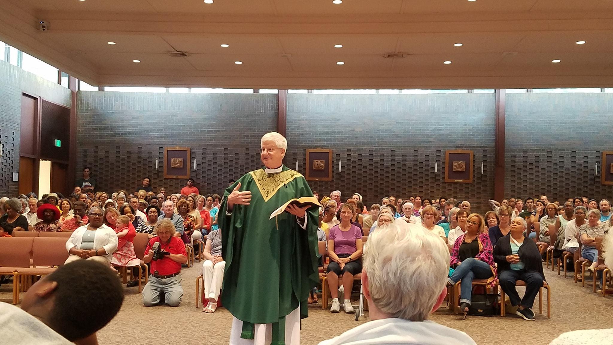 Fr. Rich preaching/teaching at St. John's