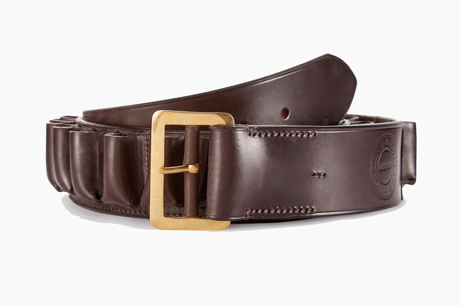 holland & holland LEATHER CARTRIDGE BELT - For the father who likes to keep his ammo handy and appreciates world-class leather craftsmanship. This belt is available in all calibers and sizes in dark brown leather with space for 25 cartridges. Made in England.