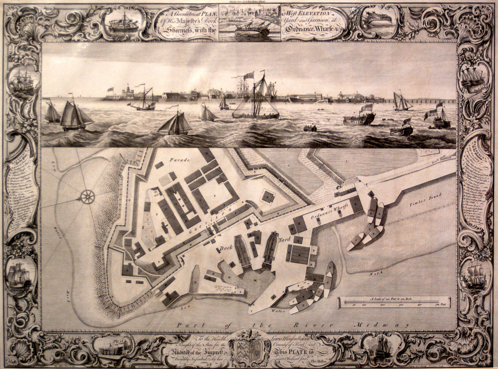 Plan and West Elevation of His Majesty's Dockyard and Garrison at Sheerness
