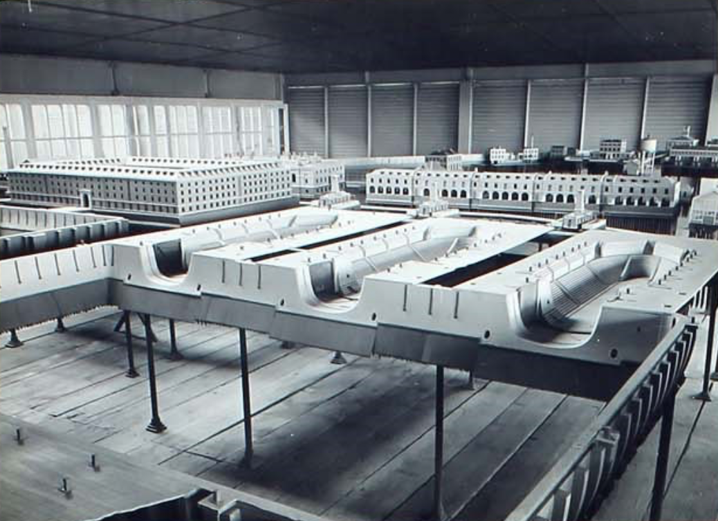 The Sheerness Dockyard model, viewed from the basin with the huge store house behind