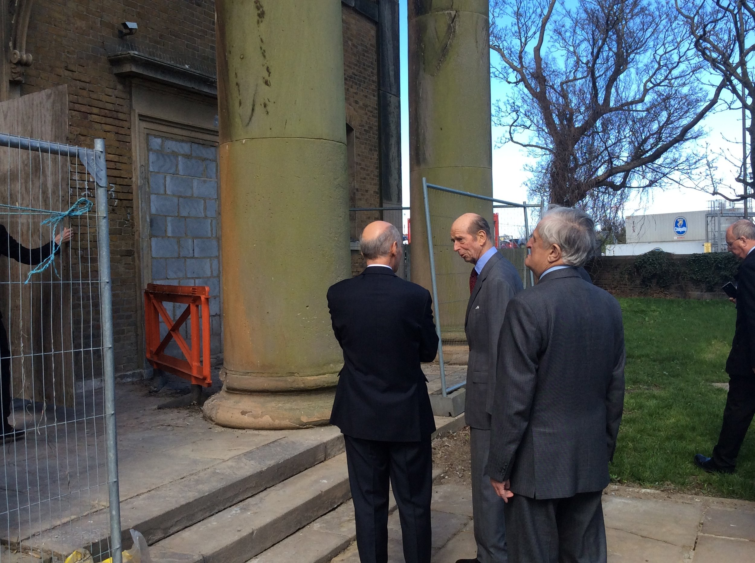 At the entrance to the church, The Duke talks with Martin Ashley from  Martin Ashley Architects