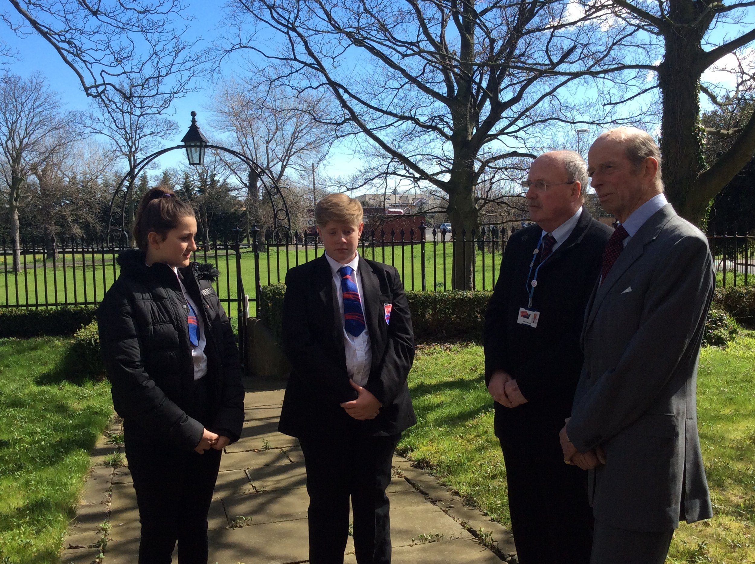 The Duke took some time to speak with students and teacher Paul Murray from  Oasis Academy   who have been involved with some reminiscence work for the project.