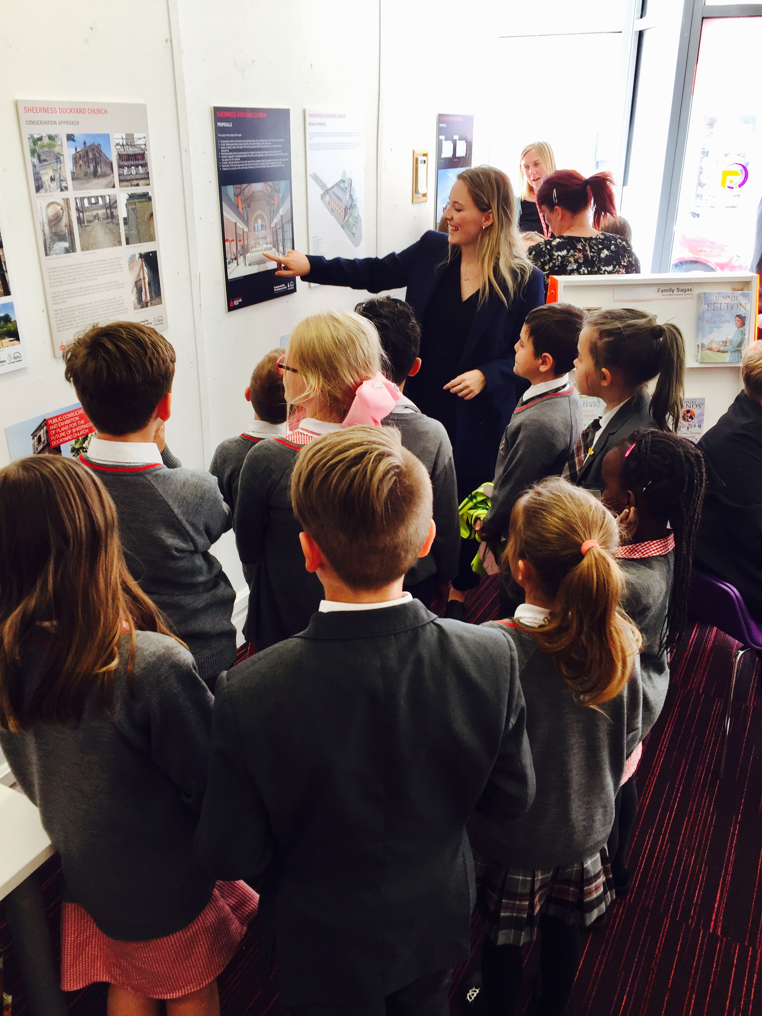 Primary school pupils are shown the designs