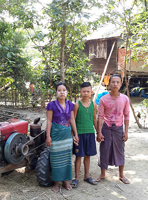 An entrepreneur and her family in Myanmar.