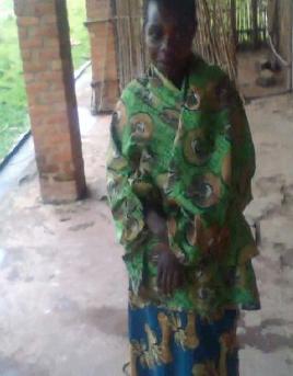 Petronie at her home in Burundi.