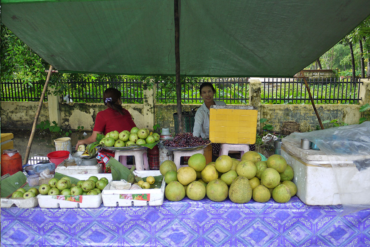 Businesses like this one, selling fresh produce are common across Myanmar.