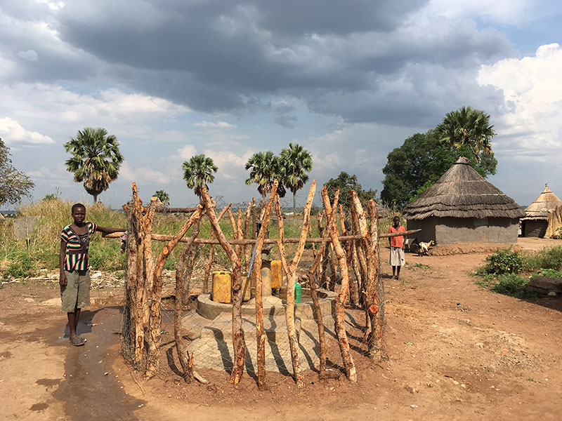 A water point serving village residents in South Sudan.
