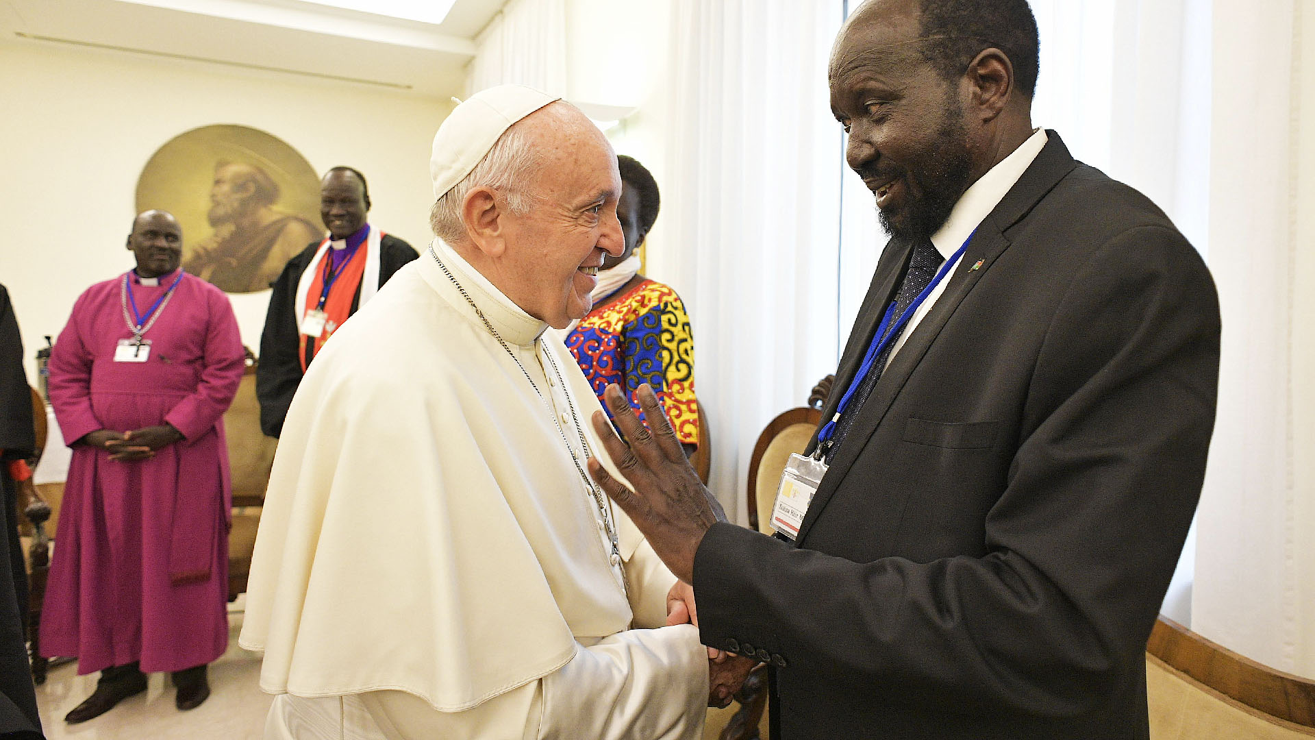 Catholic News Services: Pope Francis greets President Salva Kiir during a peace building retreat.