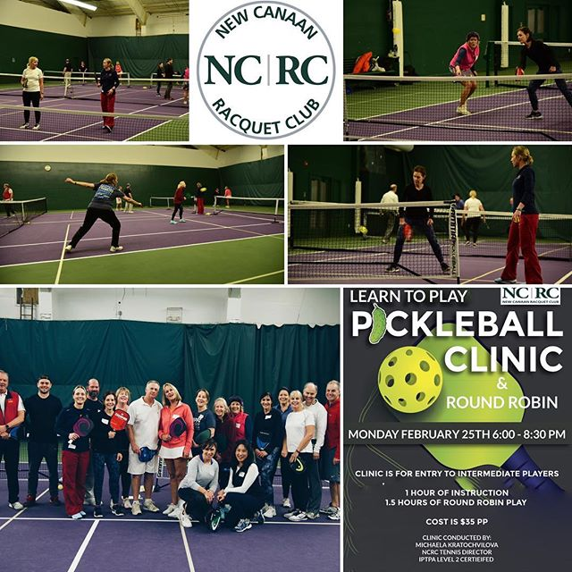 "Our First Pickleball Clinic went great!  Thank you to everyone who came out to play!  If you missed out on this clinic, we will be having a ""Learn to Play Better"" Pickleball clinic Saturday March 16th  Sign up in bio  #pickleball #tennis #newcanaan #newcanaanmoms"