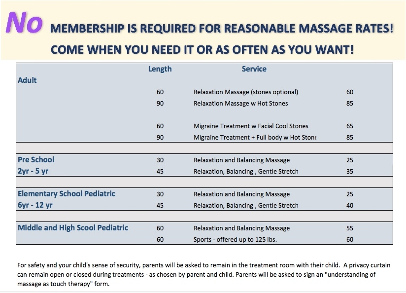 Massage Services and Rates Aug 2017