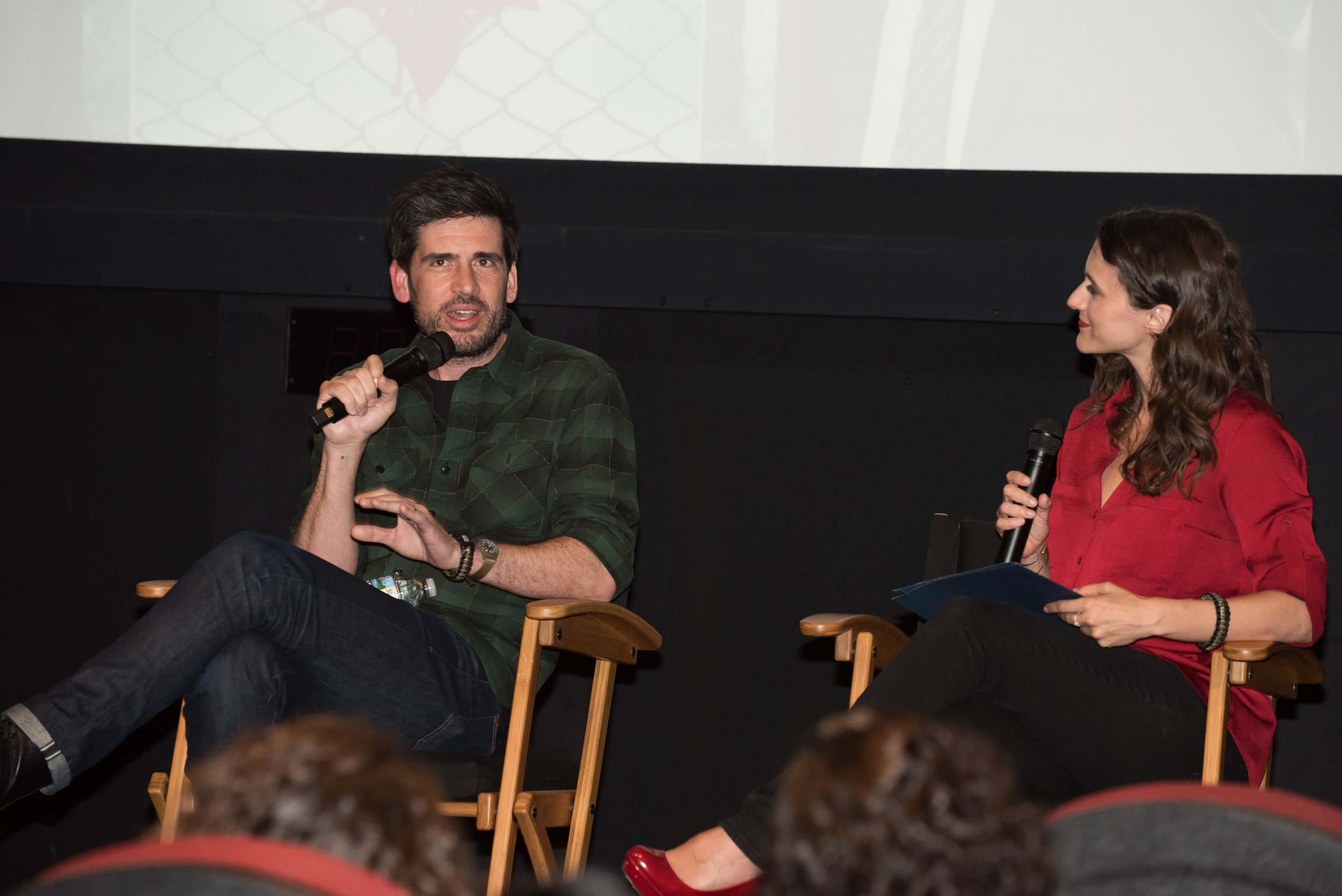 Creator Mike Daniels discusses season one of 'The Village' with moderator Shannon Corbeil. Image by Scott Angelhart/NBC.