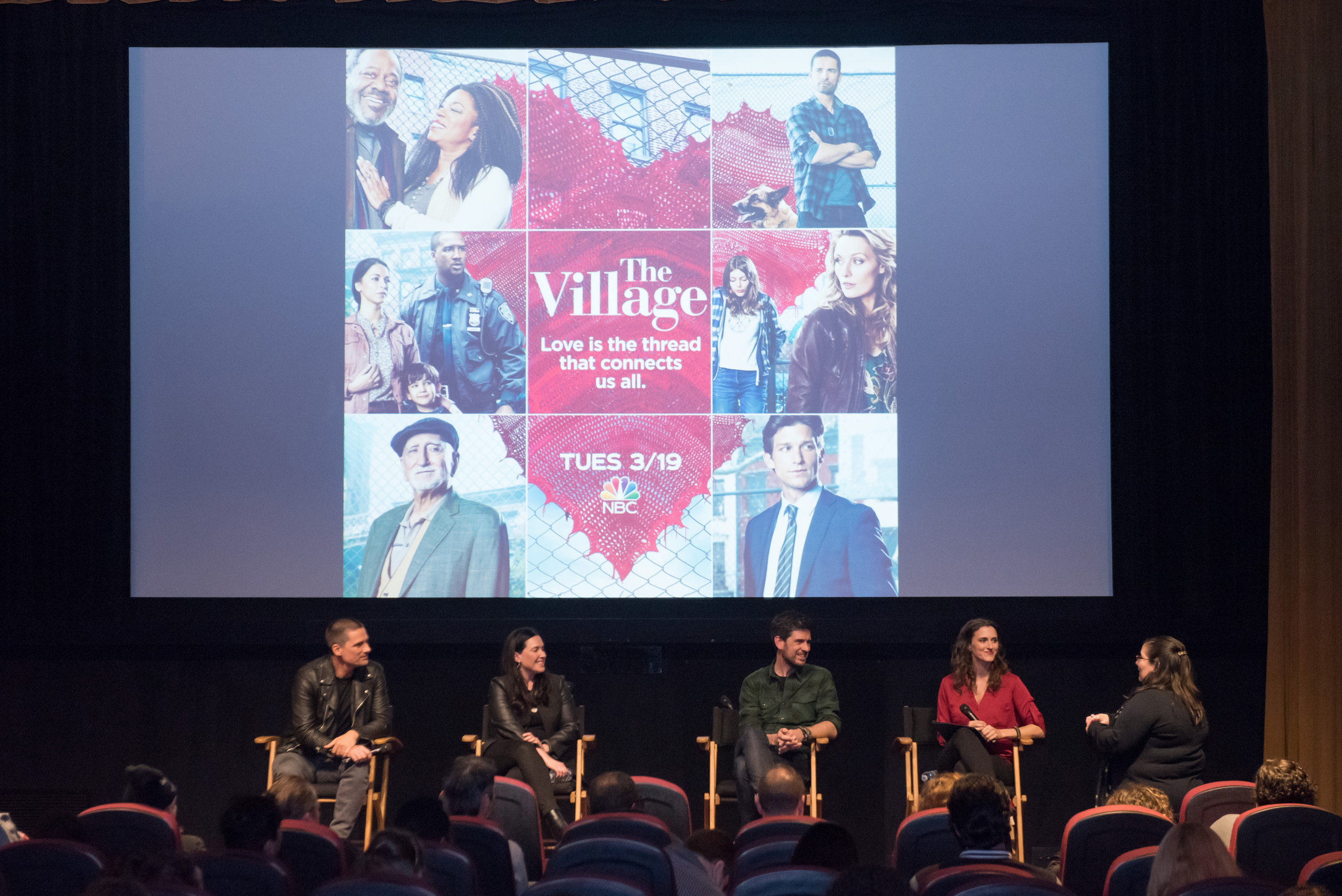 From left to right: Warren Christie ('Nick'), Jessica Rhoades (Executive Producer), Mike Daniels (Writer, Creator), Shannon Corbeil (panel moderator). Image by Scott Angelhart/NBC.