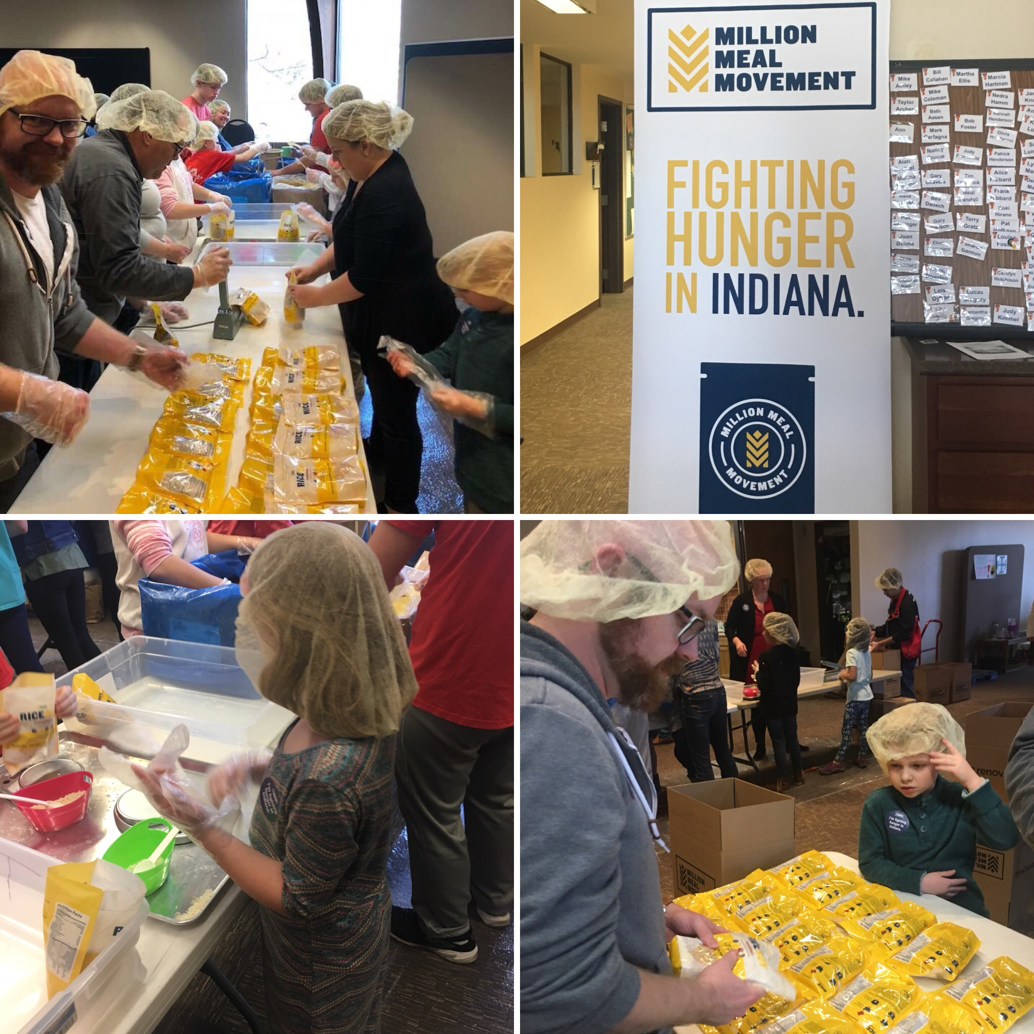 Our Marketing/Business Director Katie and her family worked alongside others to help pack 20,000 meals with Million Meals Movement which works for those in Indiana fighting hunger.