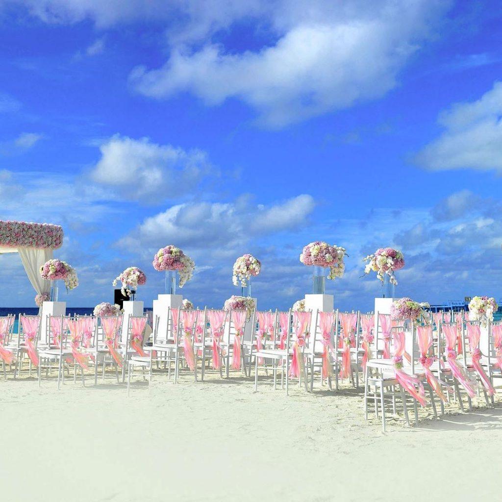 Outdoor beach wedding ceremony