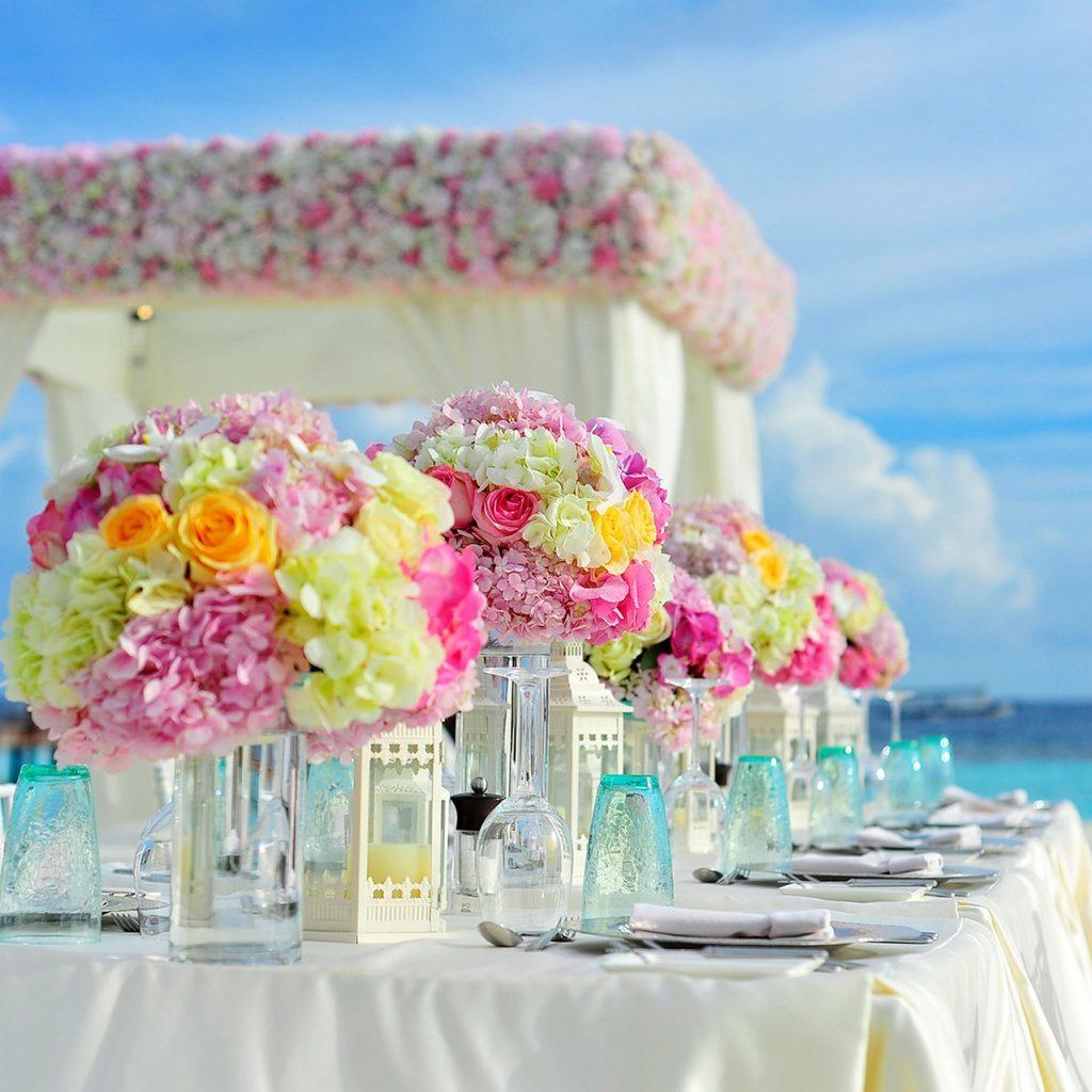 Flowers at a destination wedding