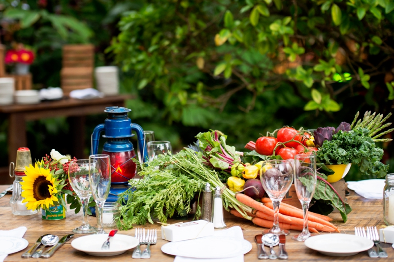 place setting with vegetables