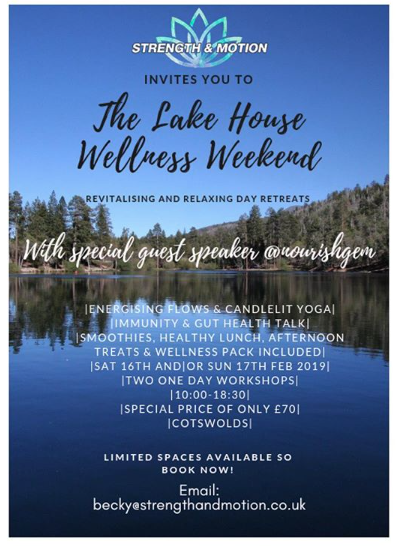 Fancy a Day Retreat in the Cotswolds? - Strength and motion invites you to 'The Lakehouse Wellness Weekend'. Two, one day retreats, Saturday 16th or/and Sunday 17th February. Located in the beautiful Cotswolds, a day of yoga, wellbeing and nutrition situated in a tranquil lake house boasting water side views and being immersed in nature! Each day contains an introduction to led meditation, energising yoga flows in the morning and candlelit relaxation yoga as the sun goes down brought to you by Strength & Motion's own experienced yogini (bring a cushion and blanket if you wish to get cosy). There will also be an informative immune and gut health talk by qualified nutritionist @nourishgem from London followed by some of her well renowned delicious treats. A healthy buffet style lunch, all drinks and edible delights throughout the day are proved with a wellness goodie bag to take home with you. Come and escape to the Cotswolds on a day of your choice over the weekend. Location proudly obtained through @coldupeuch - how lucky are we! Relax, learn and restore your body and wellbeing in this beautiful setting. What was included/event timetable:Stunning Luxury Lake House location10:00 - Welcome smoothies10:30-Opening class in theLake house (pictured). - Led meditationintroduction (15min) followed byVinyasa Yoga Flow (1hr 15min). 12:30 Healthy buffet spread lunch & Chill13:45 Nutritional talk with @nourishgemfollowed by Q & A and Nourish Gem Treats15:15 Guided Walk/Chill time16:15 Vinyasa Yoga Flow (1hr) followed by45min Candlelit Relaxation Yoga Session6pm Chai & Chat6.30pm End of the day.Limited tickets available, so please book in advance. Only £70 for the day, everything included! Reserve your place by emailing becky@strengthandmotion.co.uk or DM us.#cotswoldyoga #yogaretreat #yogaday #yogaevent #yogaeverydamnday #yogateacher #yogaforrelaxation #yogaforall #yogastrong #yogafit #yogabody #yogainspiration #yogalife #yogaoxfordshire #yogadayretreat #weekendescape #yoga #yogafun #wellbeing #healthyliving #healthywellness
